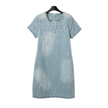 Large Size Casual Jeans Sundress Women's Plus Size Embroidery Beaded Denim Dresses Big Sizes Party Summer Dress women summer denim dress vestidos jeans sundress women casual denim dress 2019 plus size spring style beaded party tunic dresses