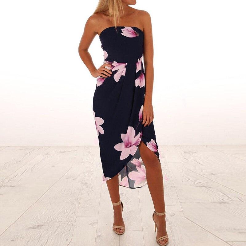 2019 Women Backless Sleeveless Party Dress Women Slim Floral Print Dress Vestidos Bandeau Irregular Split Beach Dresses Sundress