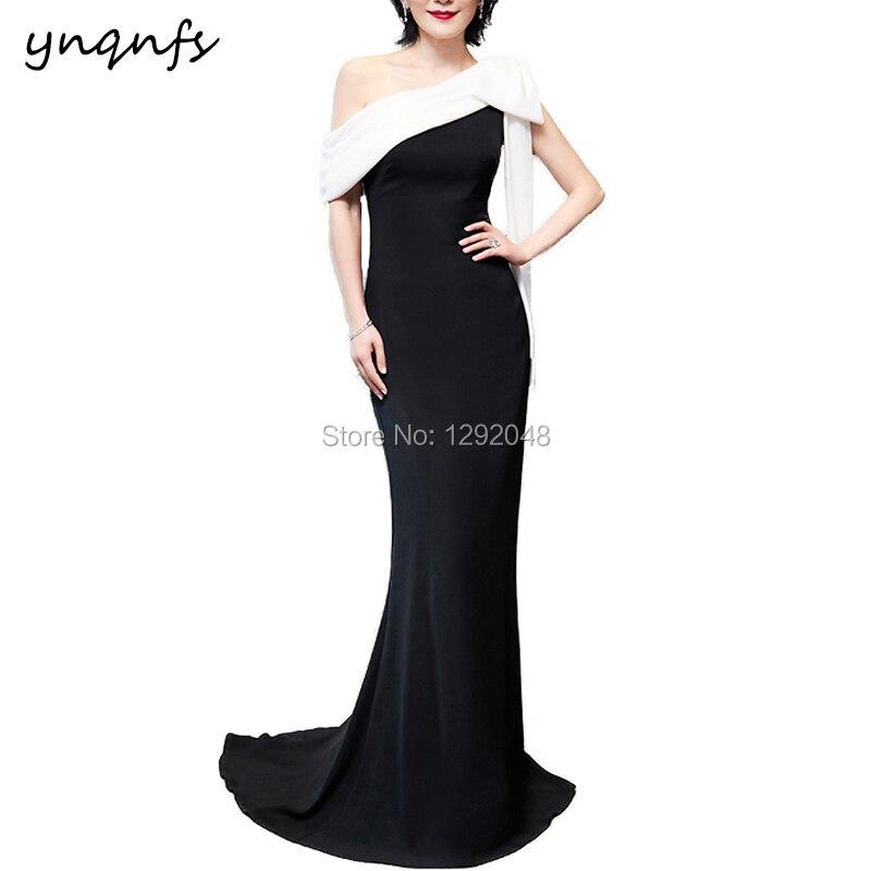 YNQNFS M179 une épaule grand arc blanc noir robe formelle robe sirène mère des mariés robes 2019