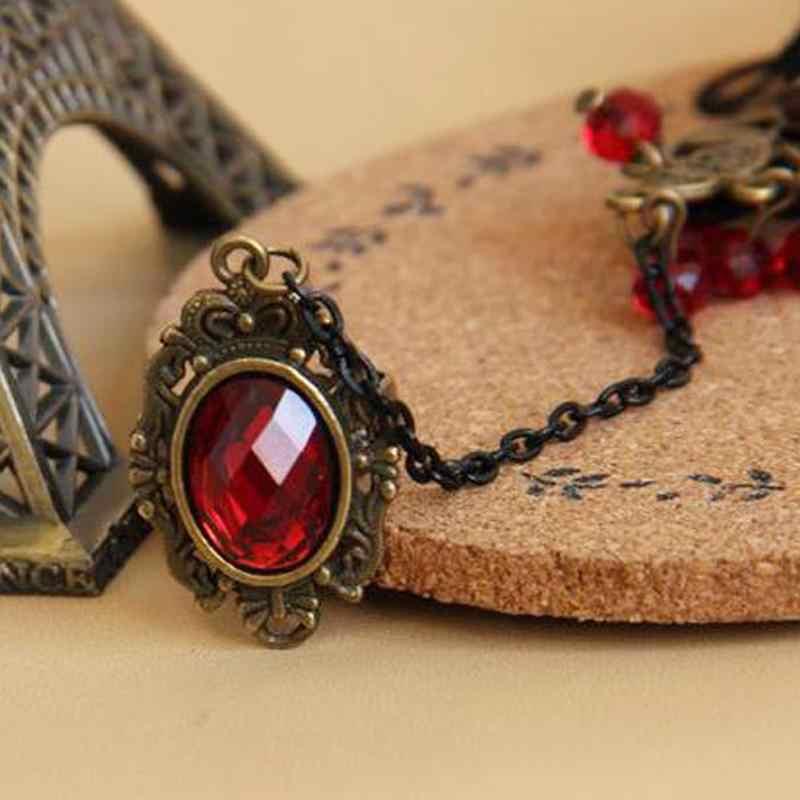Elegant Gothic Style Lace Red Rose Bracelet Jewellery with Adjustable Finger Bride Weeding Alloy Costume Beads