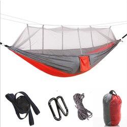 1 2 osoby na zewnątrz hamak kempingowy z moskitiera przenośne wiszące łóżko o wysokiej wytrzymałości tkanina na spadochron do spania huśtawka Hamaki Meble -