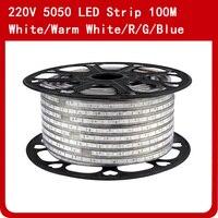 100 M AC 220 V SMD5050 лента тесьма со светодиодами Водонепроницаемый 60 Светодиодный s/m IP67 светодиодный гибкая светодиодная подсветка Открытый Сад у