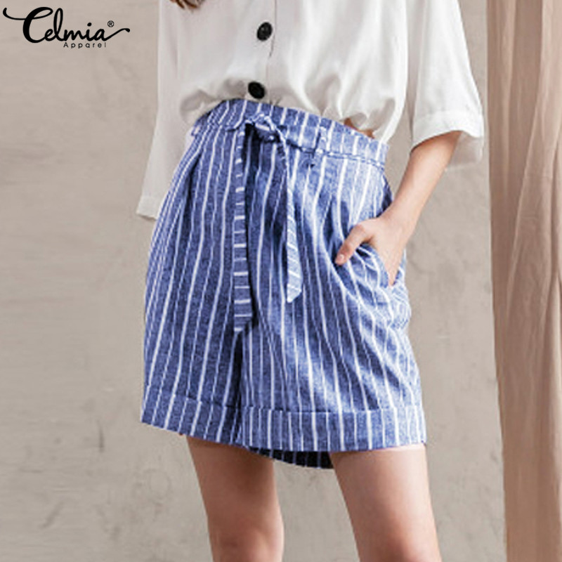 Celmia 2019 Women Summer Stripe Shorts Vintage Loose Office Ladies Shorts High Waist Beach Casual Fashion Shorts Mujer Plus Size
