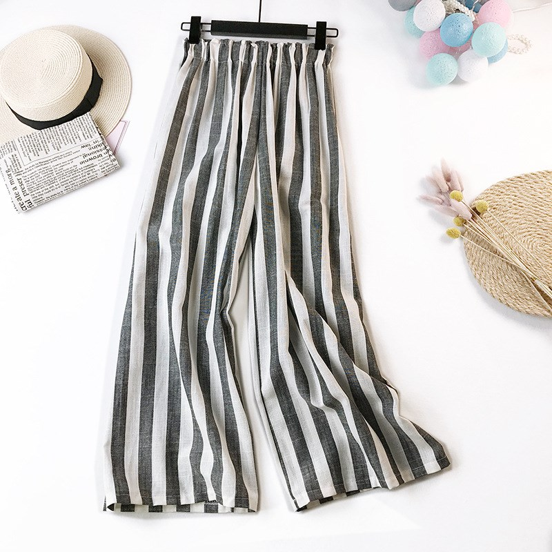 Cotton Linen Striped   Pants   Women Summer Plus Size Long Trousers Female Autumn Casual Loose Mid Waist   Wide     Leg     Pants