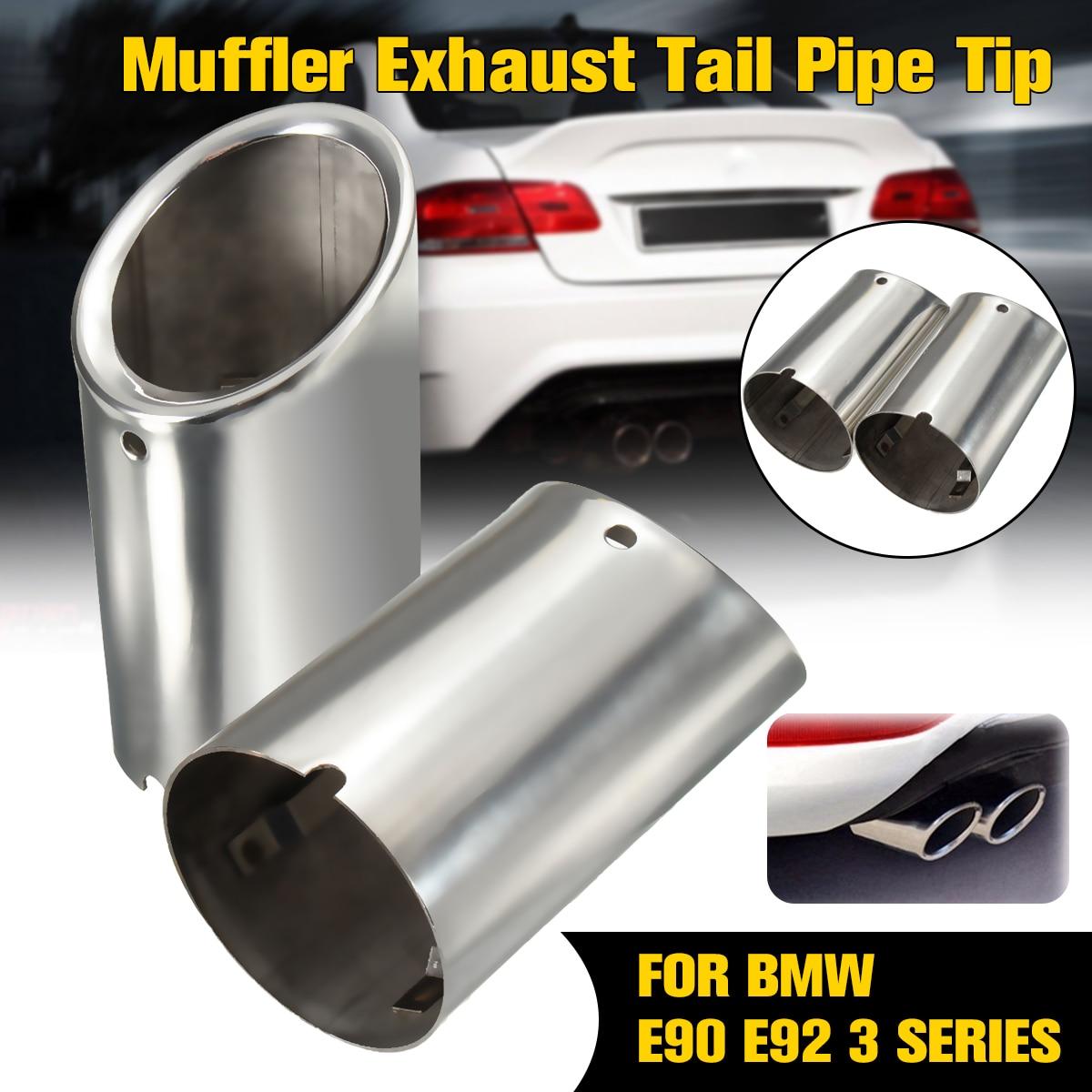 2 piezas de escape silenciador tubo de cola de punta de cromo para BMW E90 E92 325i 328i 3 serie 2006-2010