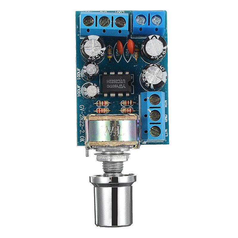 JABS TDA2822 TDA2822M Mini 2.0 Channel 2x1W Stereo Audio Power Amplifier Board DC 5V 12V CAR Volume Control Potentiometer Modu