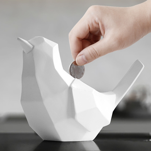 Geometric bird money box