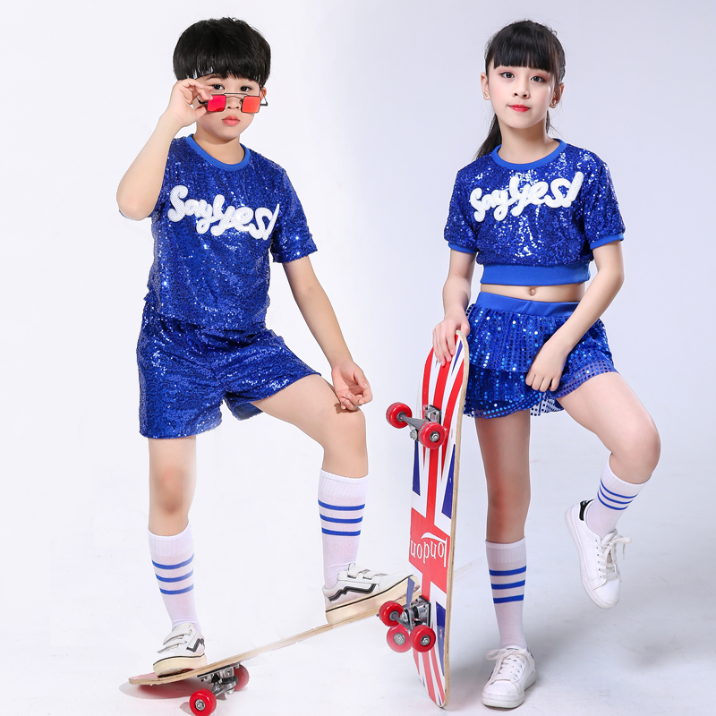 Children's Jazz Dance Sequin Costumes Boys And Girls Modern Dance Street Dance Performance Clothing Kindergarten Cheerleading
