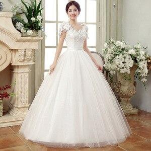 Image 5 - 긴 웨딩 드레스 2020 새로운 화이트 간단한 그레이스 섹시한 보트 넥 캡 슬리브 레이스 appiques 층 길이 볼 가운 신부 드레스