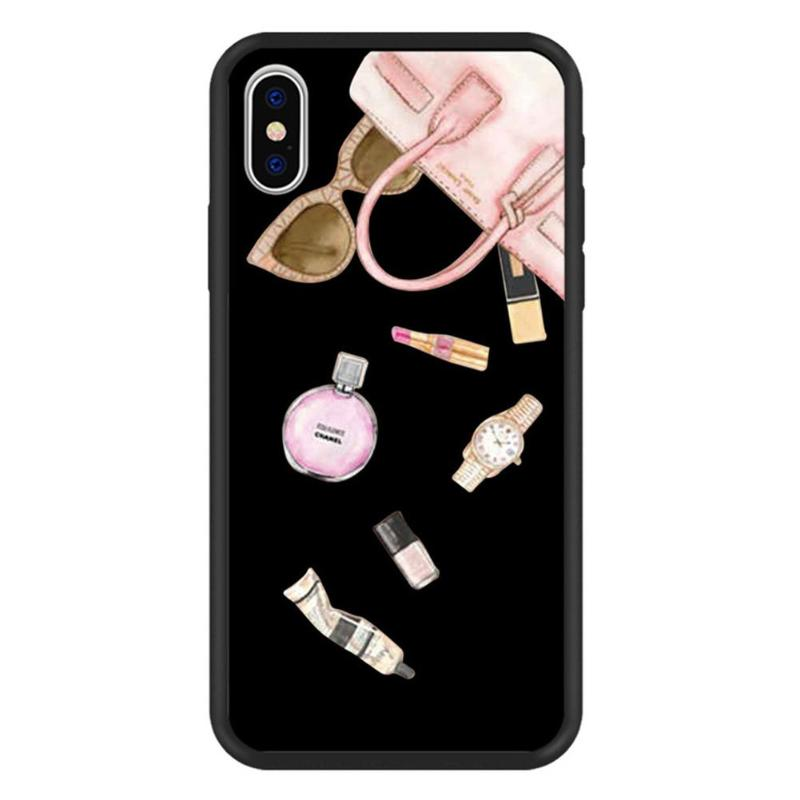 PC Silicone Bags Beauty <font><b>Makeup</b></font> Printed Phone <font><b>Case</b></font> Protective Cover Shell Fame Silicone Clear Phone <font><b>Case</b></font> for <font><b>iPhone</b></font> X XS image