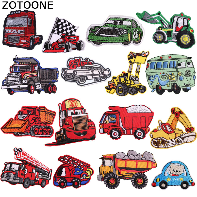 ZOTOONE 1PCS Cartoon Car Iron on Patches for Clothes Applique Embroidery Diy Handmade Stranger Things Cute Custom Sew Patch D(China)