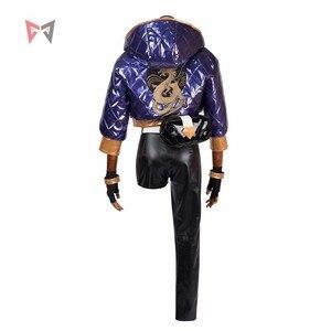 Image 2 - KDA Akali Cosplay kostüm LOL oyun KDA kadın kıyafeti ceket pantolon eldiven çantası maskesi peruk şapka küpe büyük seti özel yapılmış boyut