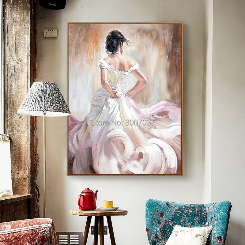 New Arrivals Hand painted Modern Fine Art Figures Oil Painting on Canvas Beautiful Dancer Woman Portrait Oil Painting in Painting Calligraphy from Home Garden