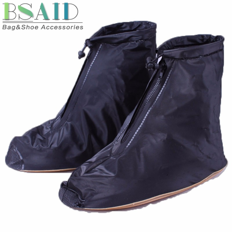 BSAID 1 Pair PVC Rain Shoes Cover, Zipper Ankle Boots Covers Professional Waterproof Slip-resistant Flat Overshoes For Men Women image