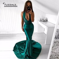 Fuedage Autumn Winter Sexy Deep V Neck Backless Maxi Dress New Fashion Elegant Satin Spaghetti Strap Dresses Club Party Vestidos