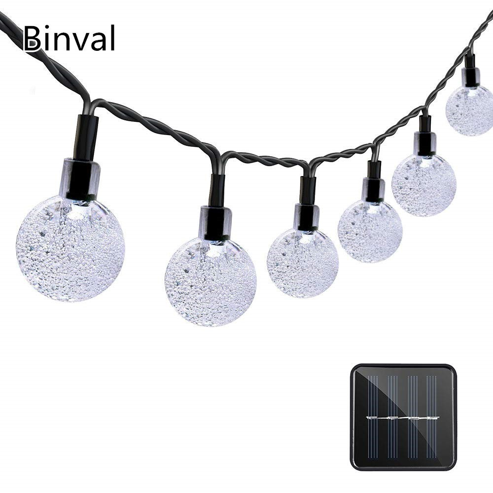 Binval Solar String Lights 30Led Crystal Ball String Lights Waterproof Fairy Lighting For Home,Outdoor,Patio,Holiday Decorations