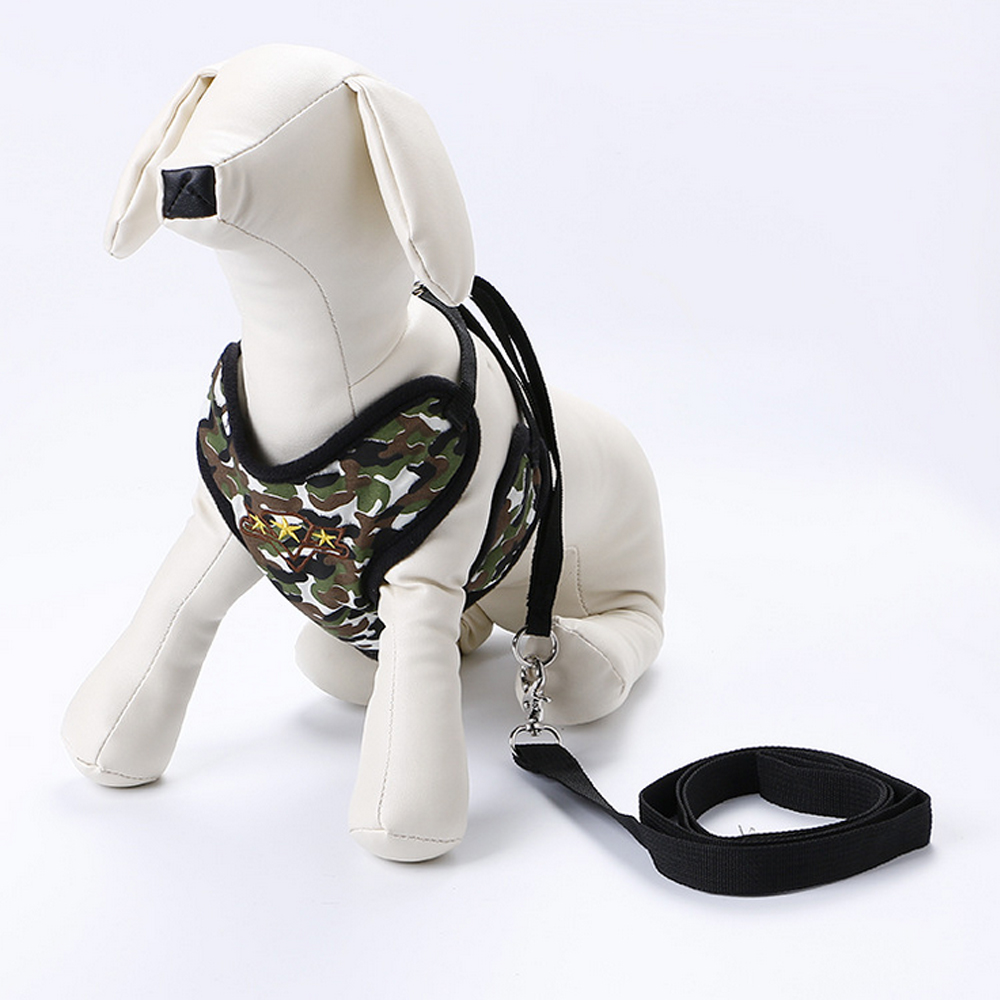 Security & Protection Forceful Cute Puppy Pet Belt Set Vest-style Breathable Mesh Chest Strap Pet Dog Chest Strap With Belt,dark Green Size:l Attractive And Durable
