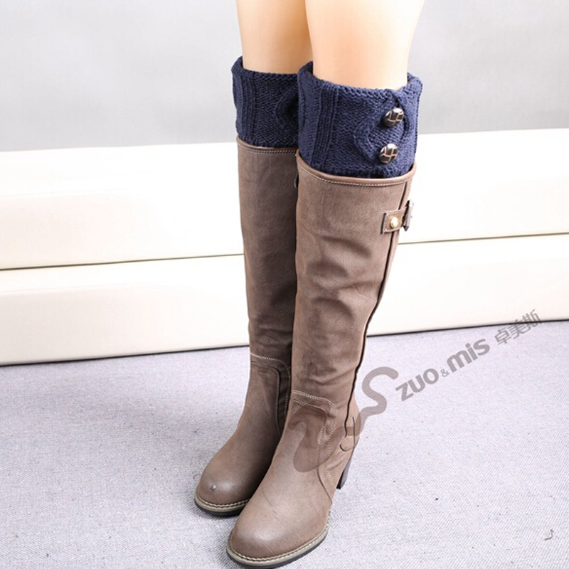 TOIVOTUKSIA Knit Boot Manset Tombol Crochet Boot Toppers Thermal Boot - Pakaian dalam - Foto 2