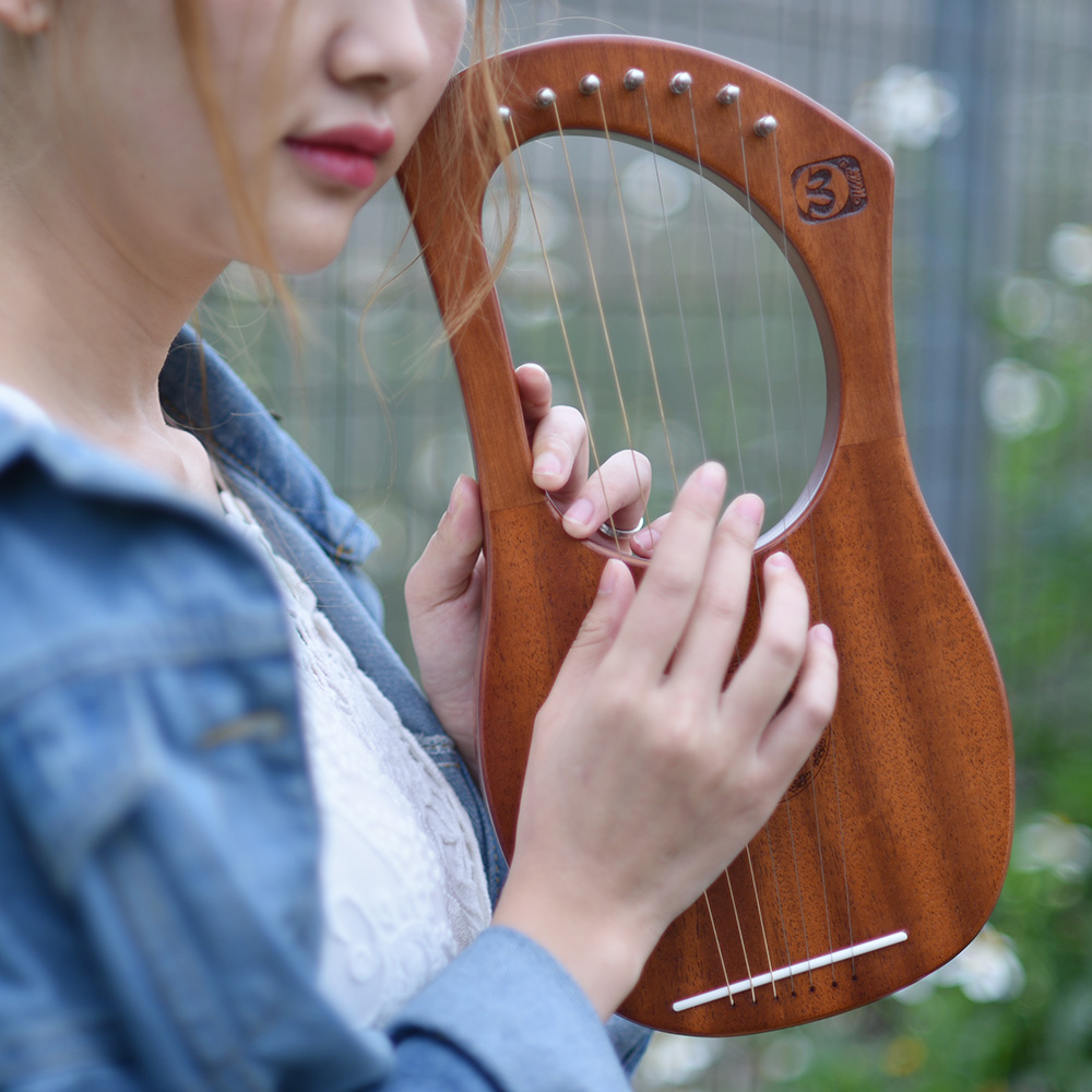7 String Wooden Lyre Harp Metal Strings Birch Solid Wood Stringed Instrument with Carry Bag