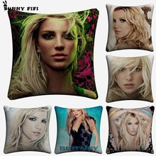 Pretty Britney Spears Singer Decorative Cotton Linen Cushion Cover 45x45 cm For Sofa Chair Pillowcase Home Decor Almofada цены