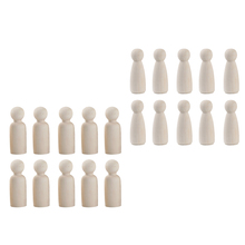20 Pieces 2 Sizes Women/Men Unfinished Wooden Peg Dolls Tiny Doll Bodies People Decorations Blank Figurine