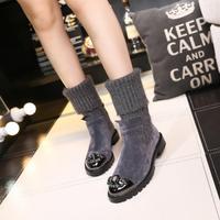 Металлический декор стрейч плоские Botas Mujer шерстяные носки стиль зимние сапоги женская обувь новый дизайн вязание женские ботфорты 2018 Zapatos