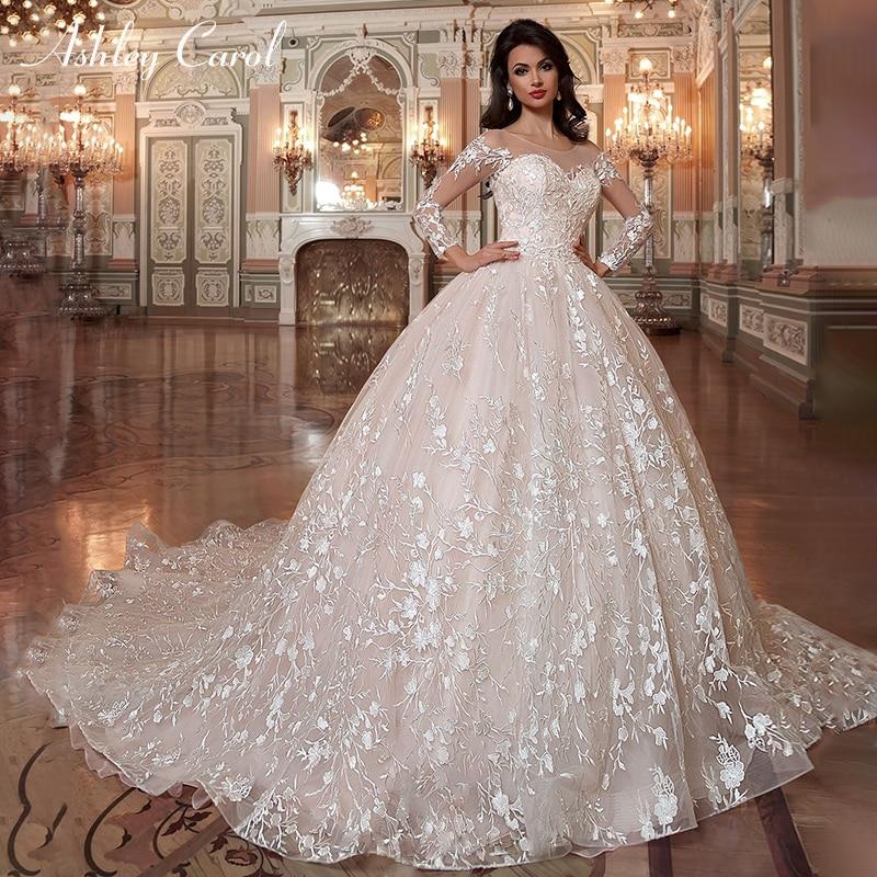 Ashley Carol Vintage Ball Gown Wedding Dresses 2020 Vestido De Noiva Long Sleeves Sashes Appliques Lace Up Princess Bridal Gowns Wedding Dresses Aliexpress
