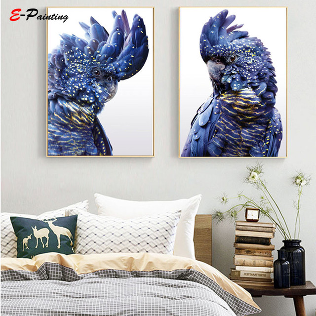 Nordic Wall Art  Blue Parrot Canvas Painting Poster Animal Bird Photography Picture Living Room Home Decor