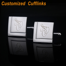 2pcs Personalized Custom Personality Cufflinks Engraved Fashion Sliver Cuff links Square Wedding Fathers Day Favour Gift CL-032