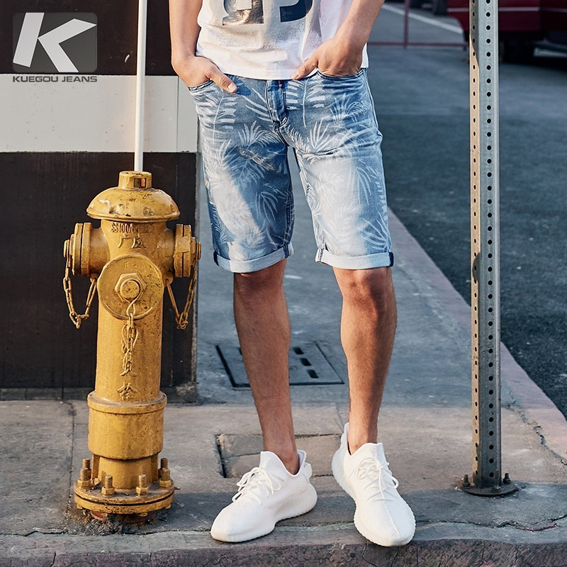 Summer 2019 New Men Denim Shorts Cotton Print Blue Color For Man Fashion Slim Fit Pockets Elastic Jeans Male Short Trousers 2935