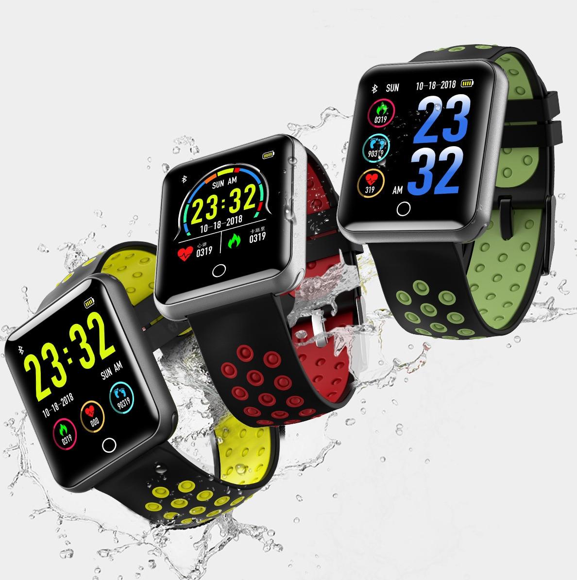 Q18 l'écran couleur montre intelligente pression artérielle surveillance de la fréquence cardiaque 1.5 M IP68 étanche montre intelligente
