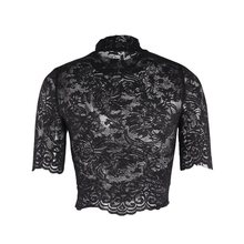 Sexy Lace Gothic Tees Summer Crop Top Women Transparent Tops Fashion Embroidery Turtleneck Slim Ladies Club Wear Black T Shirts