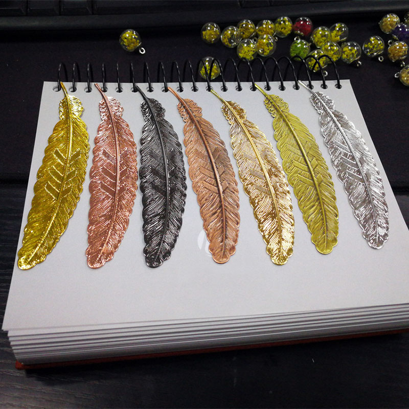 Vintage Colored Alloy Bookmark Creative Gold Metal Feather Book Marks Girls Kids Gifts Novelty School Office Stationery Supplies