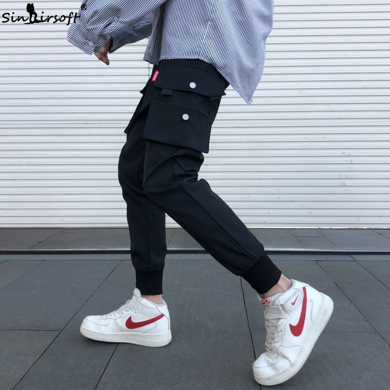SINAIRSOFT Men Multi-pocket Elastic Waist Design Harem Pant Street New Hip Hop Casual Trousers Joggers Male Army Cargo Pants 4XL