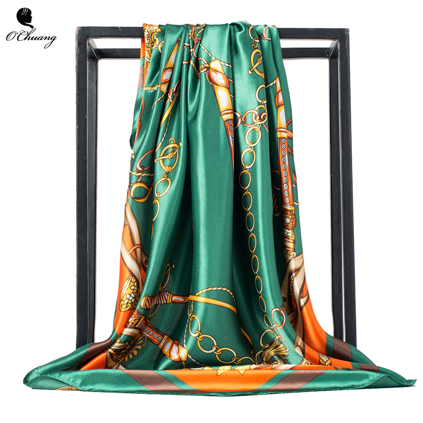 O CHUANG Women Silk Scarf Euro Green Square Head Scarves Wraps Luxury Brand Quality Female Foulard Satin Shawls and Wraps 90*90