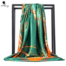 O CHUANG Women Silk Scarf Euro Green Square Head Scarves