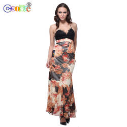 Платье подружки невесты Длинное Элегантное цветочное плиссированное платье-Русалка с v-образным вырезом знаменитостей вечернее шифоновое