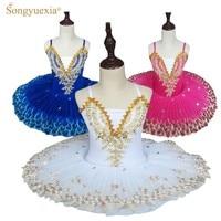 white professional ballerina ballet tutu for child children kids girls pancake tutu dance costumes ballet dress kids girls