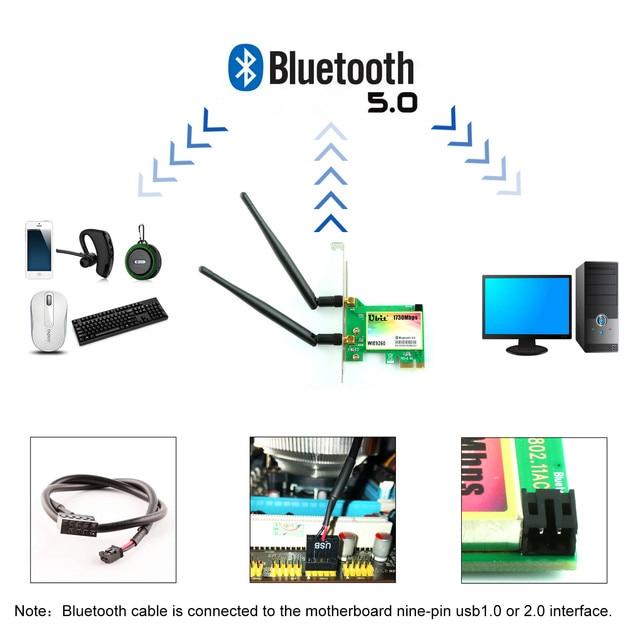 Carte WiFi Ubit, AC 1730 Mbps, carte réseau sans fil double bande Bluetooth 5.0, adaptateur 9260 PCIe, sans fil PCI-E pour ordinateur de bureau 4