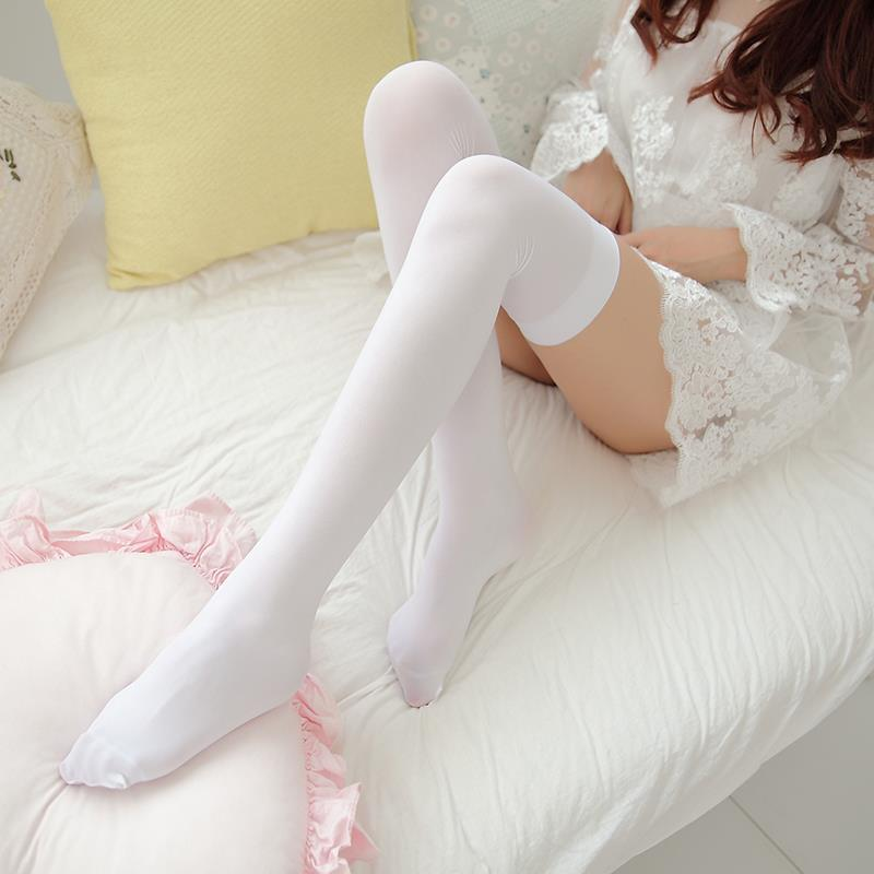 Knee Socks Girl Student College Wind Stockings White Silk Socks Japanese Thin <font><b>Lolita</b></font> Thigh Socks cosplay stockings black image