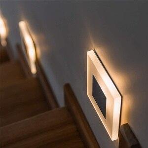Image 1 - חדש Led קיר אור 3W כיכר אקריליק פמוט קיר שקוע footlight מקורה מדרגות צעד דקורטיבי לילה אורות מודרני קיר מנורה