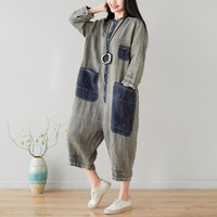 One piece Rompers Baggy Cotton Linen Long Sleeve Playsuits hip hop Wide Leg Jumpsuit Casual Loose O Neck hanging crotch Rompers