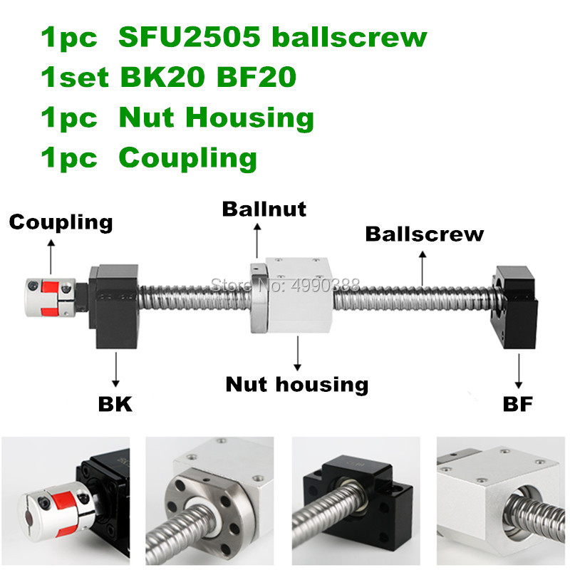 Ball screw set SFU2505 L 600 800 1000mm ballnut ballscrew Support BK20 BF20&Ball nut mount bracket housing with end machining