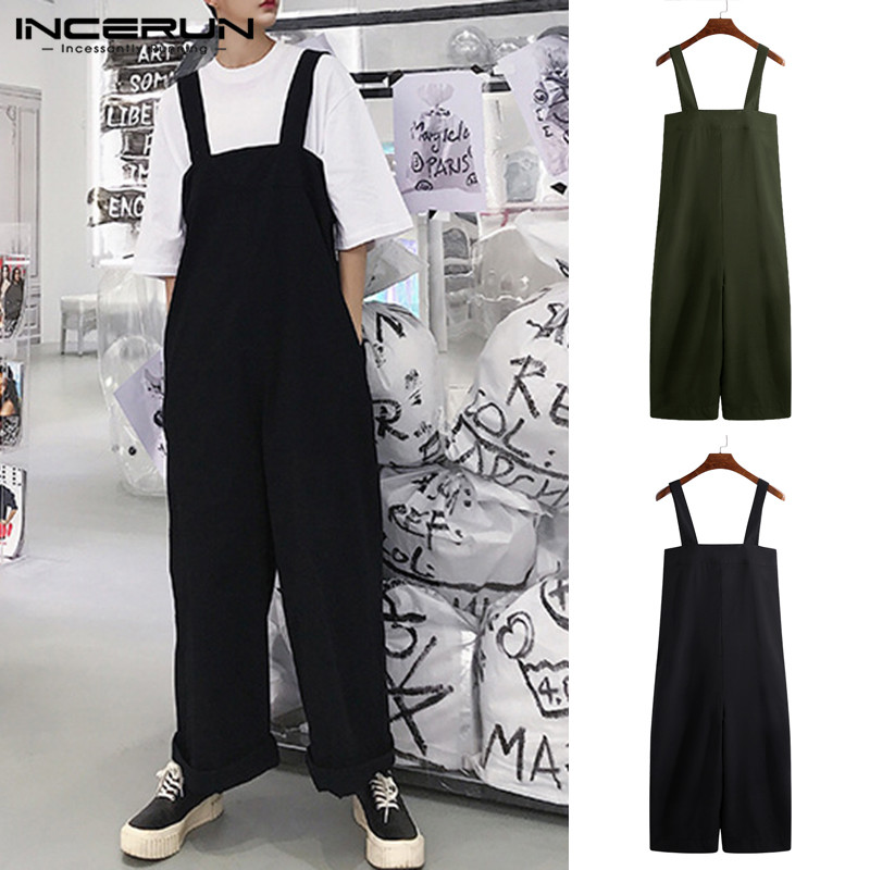 INCERUN Street Jumpsuits Mens Bottom Baggy Jumpsuits Men Wide Legs Pants Loose Casual Small Fresh Playsuits Brand Hombre 5XL