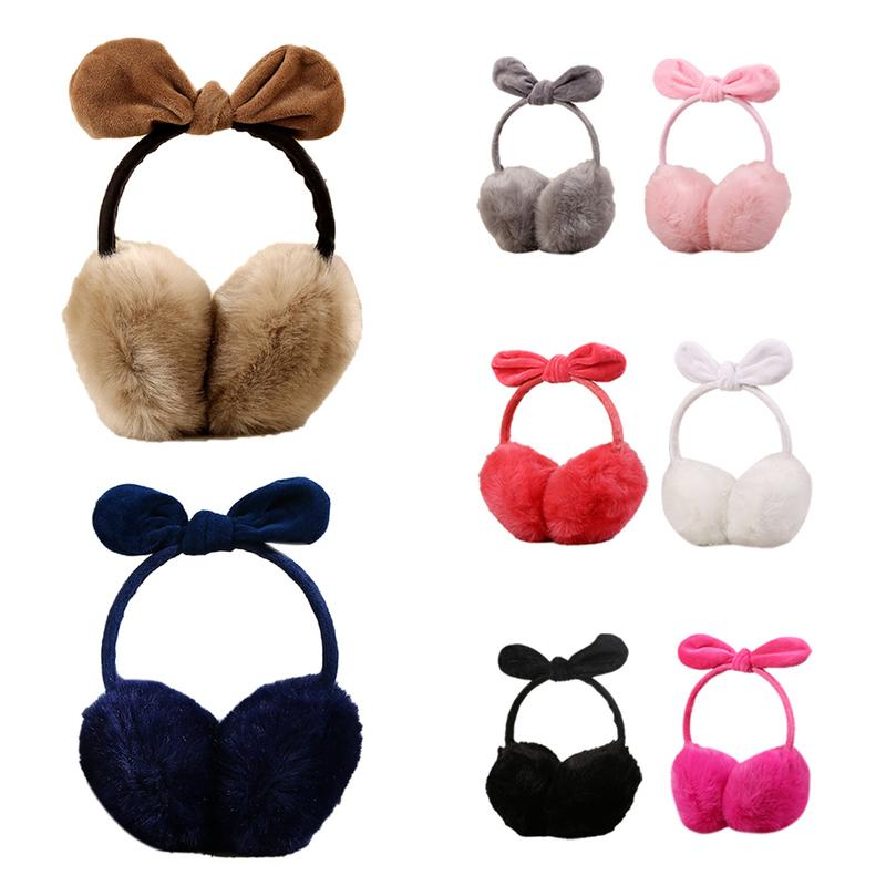 Adjustable High Quality Bow Cute Rabbit Ears Warm Earmuffs Rabbit Hair Warm Winter Ear Protection