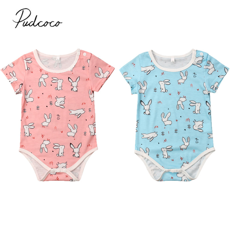 e19f2a86cf2 2019 Brand New Newborn Kid Baby Girl Boy Easter Bunny Bodysuit Jumpsuit  Short Sleeve Cartoon Rabbits