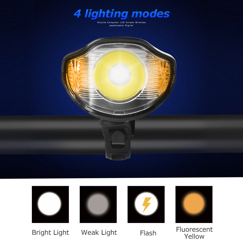 Waterproof Bicycle Front Light with USB Charging, Speed Meter and LCD Screen 3