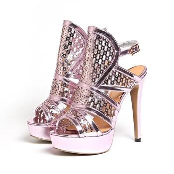 Moraiam snc Summer new sequins super high heel waterproof platform fish mouth sandals stiletto large size sandals