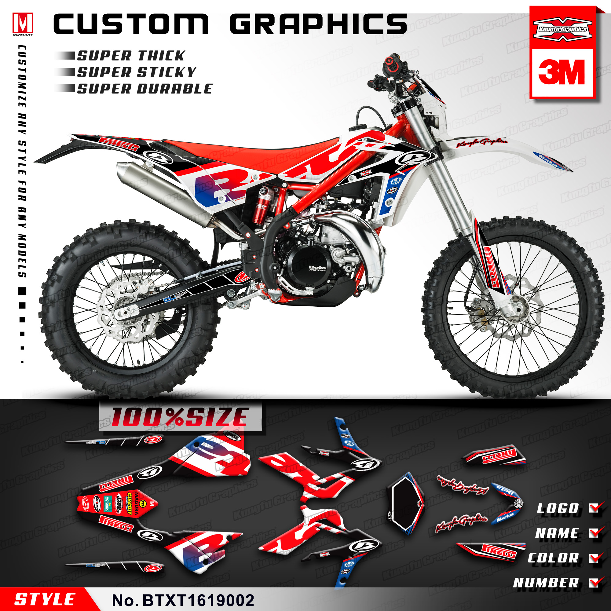 Kungfu graphics motocross racing vinyl decals custom stickers for beta xtrainer 300 2016 2017 2018 2019 style no btxt1619002