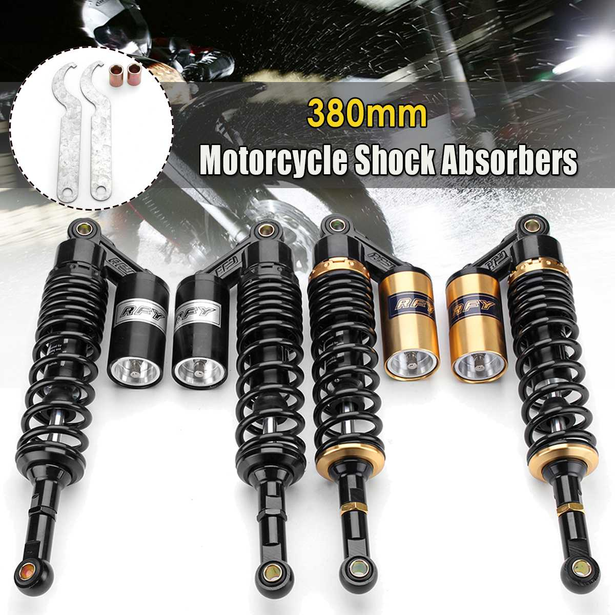 Pair 15 380mm Rear Air Shock Absorbers Suspension For ATV Motorcycle Dirt Bike